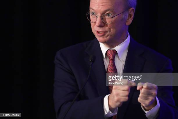 Executive Chairman of Alphabet Inc Google's parent company Eric Schmidt speaks during a National Security Commission on Artificial Intelligence...