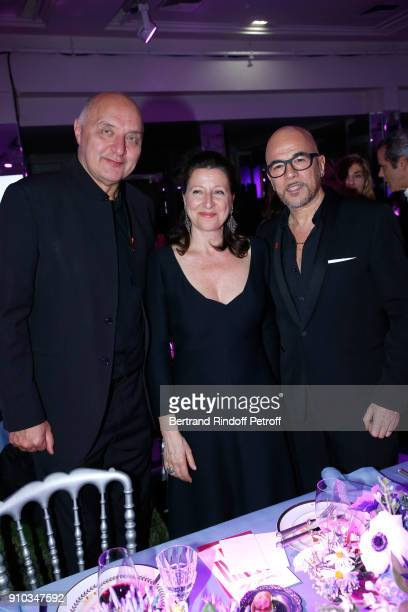 Executive Chairman of the Federation of Haute Couture and Fashion Pascal Morand French Health Minister Agnes Buzyn and Pascal Obispo attend the 16th...