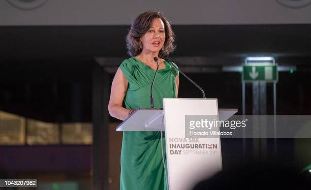 Executive Chairman of the Santander Group Ana Patricia Botin delivers remarks during inauguration day ceremony in NOVA School of Business and...