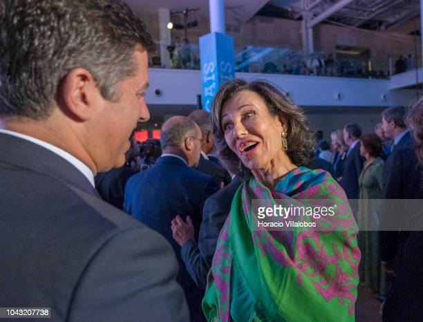 Executive Chairman of the Santander Group Ana Patricia Botin talks to guests at the end of the inauguration day ceremony in NOVA School of Business...