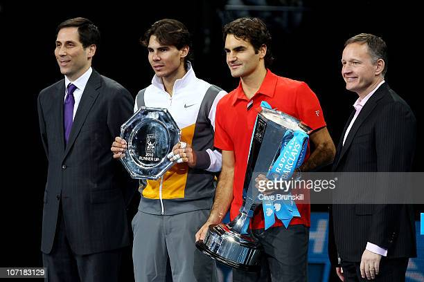 ATP Executive Chairman President Adam Helfant Rafael Nadal of Spain Roger Federer of Switzerland and CE of Barclays Global Retail Banking Antony...