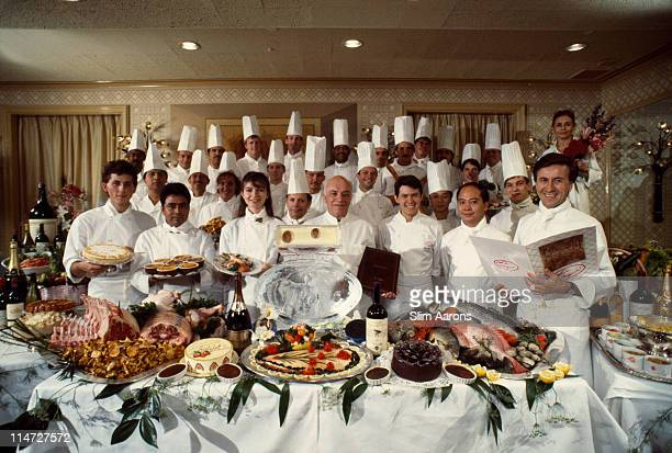 Executive Chef Daniel Boulud with staff at New York restaurant Le Cirque owned by Sirio Maccioni 1990
