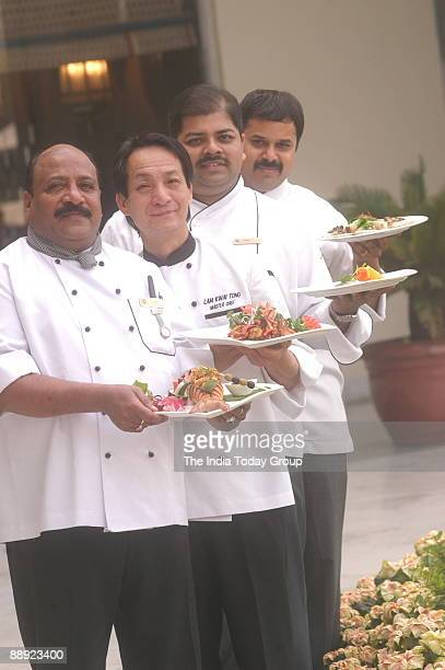 Executive Chef Ravitej Nath with Chef Manav Sharma, Chef AS Qureshi and Chef Lam Kwai Tong in New Delhi, India