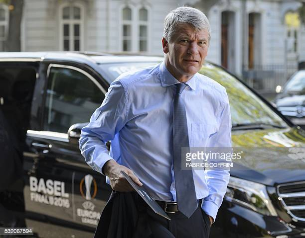 UEFA executive committee member Britain's David Gill arrives for an extraordinary meeting on May 18 2016 in Basel UEFA's executive committee is...