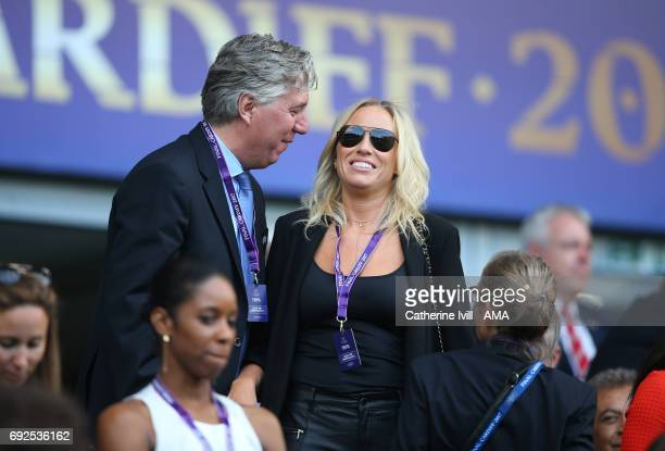 Executive Committee member John Delaney greets wife Emma English during the UEFA Women's Champions League Final match between Lyon and Paris Saint...