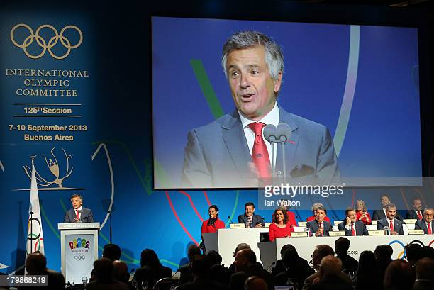 Executive Committee Member Juan Antonio Samaranch Jr speaks during the Madrid 2020 bid presentation during the 125th IOC Session 2020 Olympics Host...