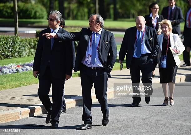 FIFA Executive Committee Member Sheikh Salman Bin Ebrahim Al Khalifa of Bahrain and President of UEFA Michel Platini attend the Preliminary Draw of...