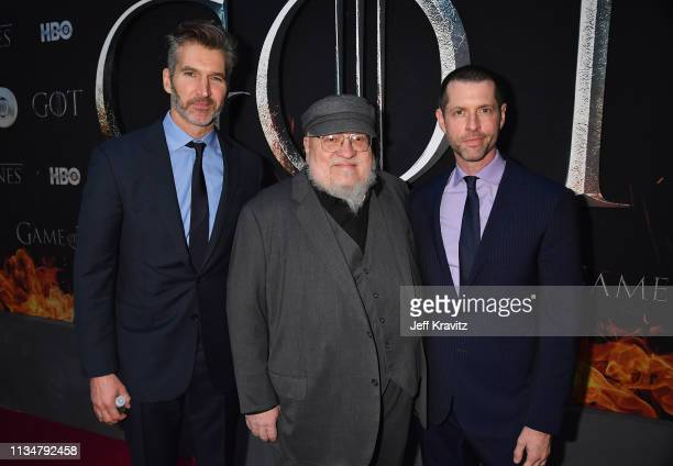 Executive Creators and Producers of Game of Thrones David Benioff George R R Martin and DB Weiss attend the Game Of Thrones Season 8 NY Premiere on...