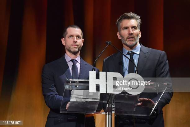 Executive Creators and Producers of Game of Thrones DB Weiss and David Benioff speak onstage during the Game Of Thrones Season 8 NY Premiere on April...