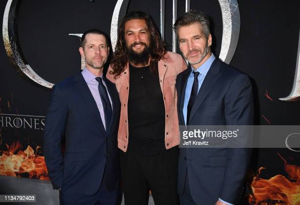 Executive Creators and Producers of Game of Thrones DB Weiss and David Benioff and Jason Momoa attend the Game Of Thrones Season 8 NY Premiere on...
