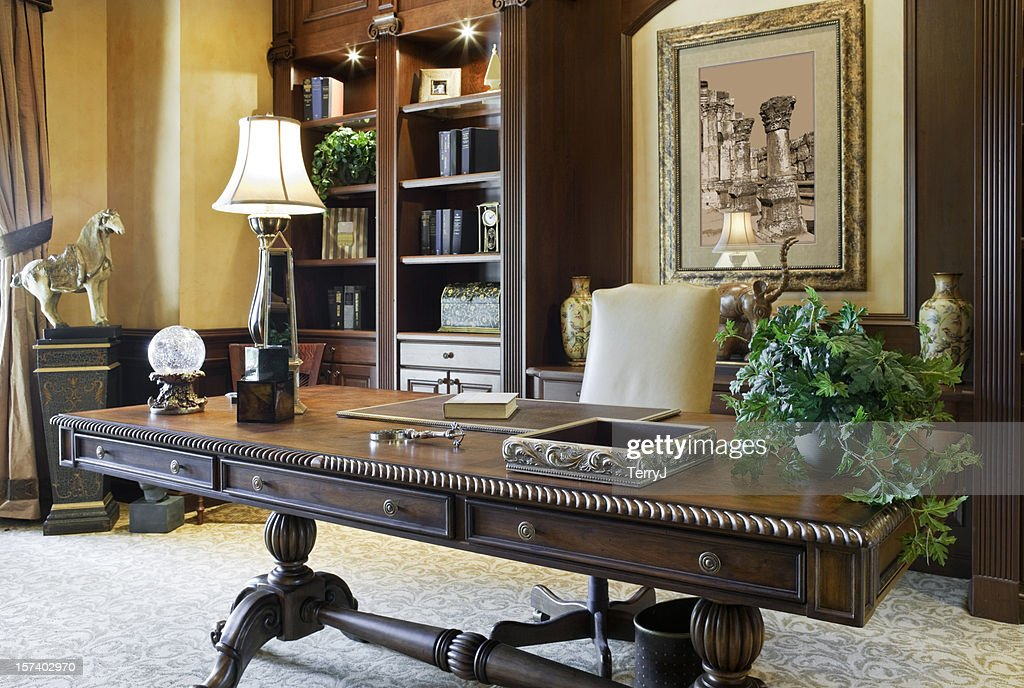 Executive Desk in a Beautiful Home Office : Stock Photo