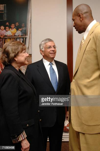 Executive Director Ann M. Veneman, NBA Commissioner David Stern and former New York Knicks forward Jerome Williams gather as NBA Cares announces...