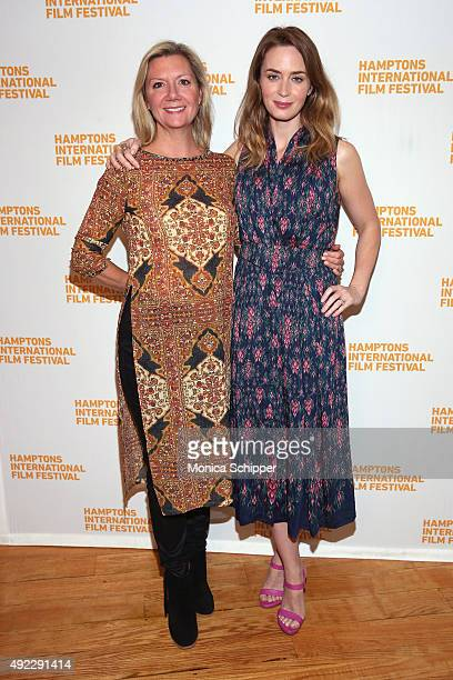 HIFF Executive Director Anne Chaisson and actress Emily Blunt attend A Conversation With…Emily Blunt on Day 4 of the 23rd Annual Hamptons...