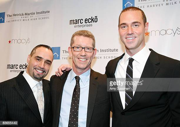 Executive Director at The HetrickMartin Institute Thomas Krever honoree Peter Wilson and event chair Rob Smith attend the 2008 Emery Awards at...
