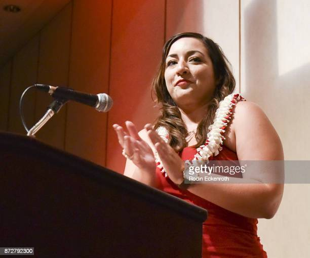 Executive Director Beckie Stocchetti speaks onstage at the 37th Annual Hawaii International Film Festival Gala presented by Halekulani on November 10...