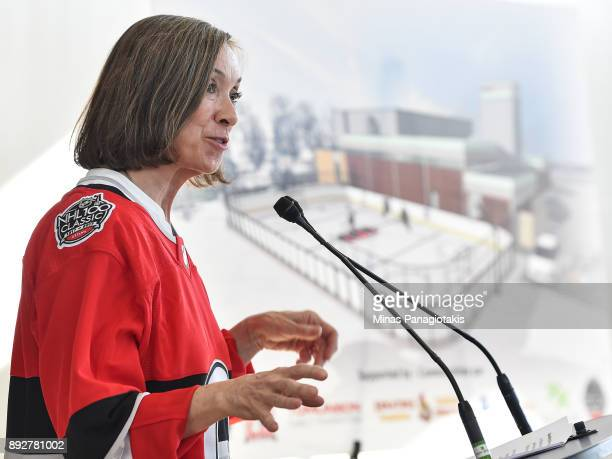 Executive Director Boys and Girls Club of Ottawa Colleen Mooney addresses the guests during the 2017 Scotiabank NHL100 Classic Legacy Project press...