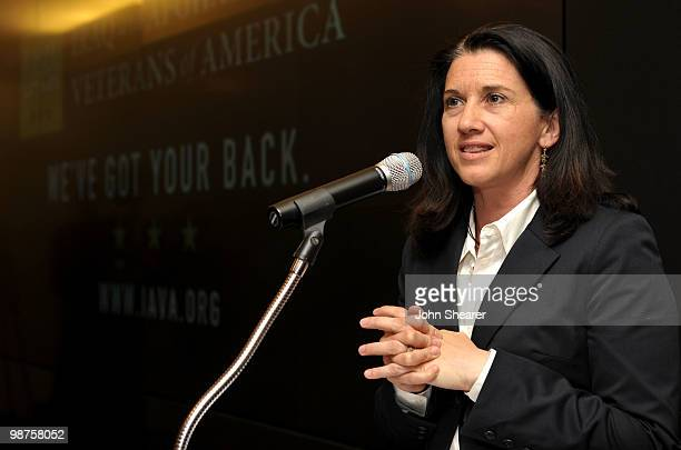 Executive Director CAA Foundation Michelle Kydd Lee speaks at IAVA's Second Annual Heroes Celebration held at CAA on April 29 2010 in Los Angeles...