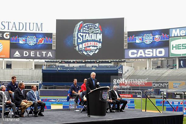 Executive Director Don Fehr addresses the media during the 2014 NHL Stadium Series Media Availabilty at Yankee Stadium on August 8 2013 in the Bronx...