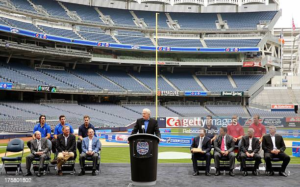 Executive Director Don Fehr addresses the media during the 2014 NHL Stadium Series media availability at Yankee Stadium on August 8 2013 in the Bronx...