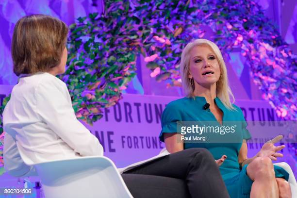 Executive Director Fortune MPW Summits and Live Content Pattie Sellers and Counselor to the President Kellyanne Conway speak onstage at the Fortune...