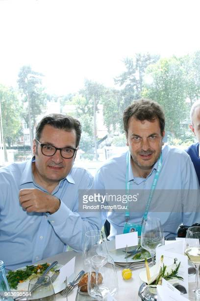 Executive Director General of the French Professional Football League Didier Quillot and LaurentEric Le Lay attend the 'France Television' Lunch...