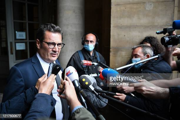 Executive Director General of the Professional Football League Didier Quillot answers to journalists questions as he leaves a hearing concerning the...