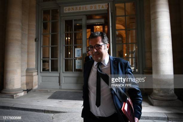 Executive Director General of the Professional Football League Didier Quillot leaves a hearing concerning the judicial appeals from Toulouse Amiens...