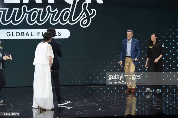 Executive Director Global Vision 20/20 Kevin White and founder of Re3D Samantha Snabes attend as WeWork presents Creator Awards Global Finals at the...