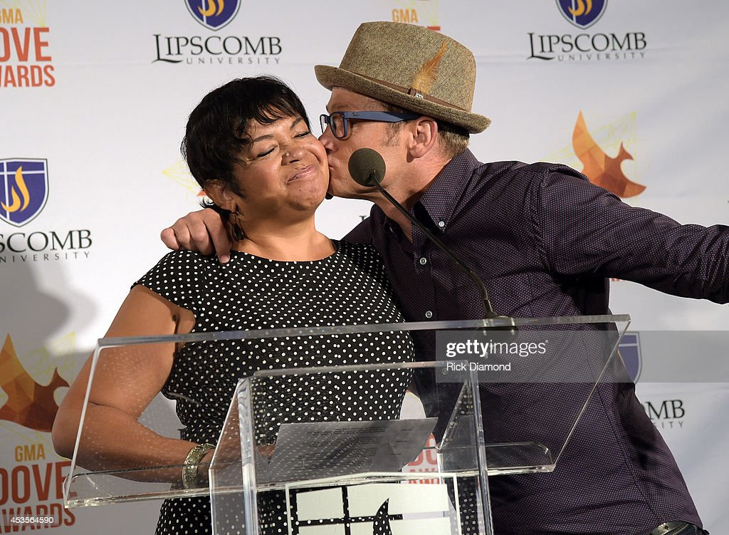 Executive Director GMA, Jackie Patillo and Recording Artist TobyMac during the 45th Annual GMA Dove Awards Nominations Press Conference at Allen Arena on Lipscomb University campus, August 13, 2014 in Nashville, Tennessee.