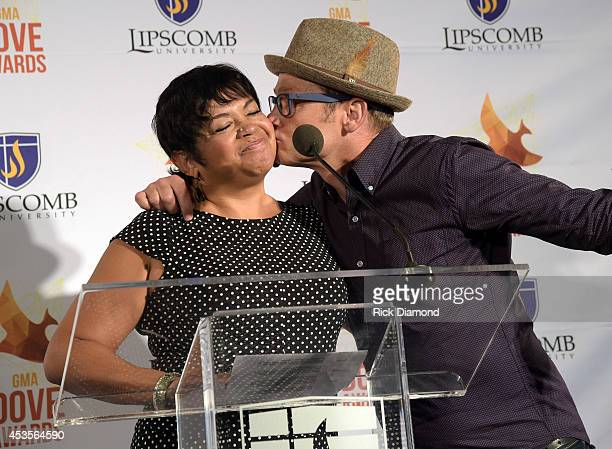 Executive Director GMA Jackie Patillo and Recording Artist TobyMac during the 45th Annual GMA Dove Awards Nominations Press Conference at Allen Arena...