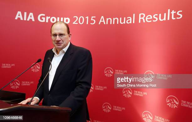 AIA Executive Director Group Chief Executive President Mark Tucker at the AIA Group Limited 2015 Annual Results press conference at AIA Central in...