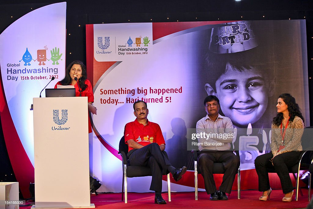Executive Director HR of Unilever India Leena Nair adresses the gathering as CEO MD of Unilever India Nitin Paranjpe Bollywood movie actress Kajol...