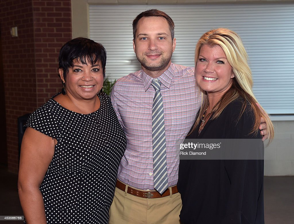 Executive Director Jackie Patillo with Recording Artists, Natalie Grant and Brandon Heath during the 45th Annual GMA Dove Awards Nominations Press Conference at Allen Arena on Lipscomb University campus, August 13, 2014 in Nashville, Tennessee.