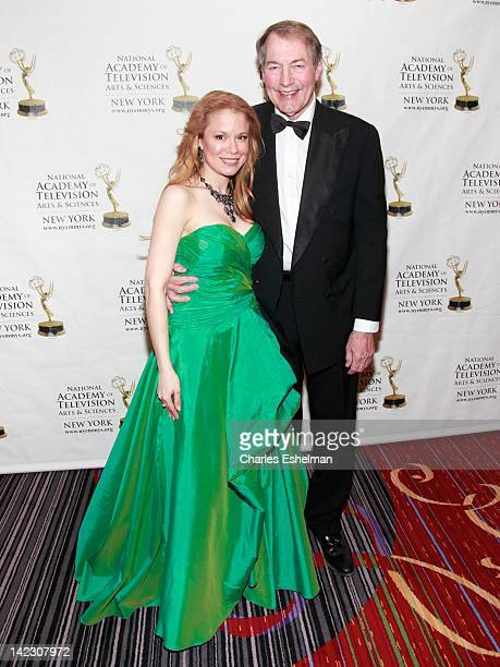 Executive Director Jacqueline Gonzalez and presenter Charlie Rose attend the 55th Annual New York Emmy Awards gala at the Marriott Marquis Times...