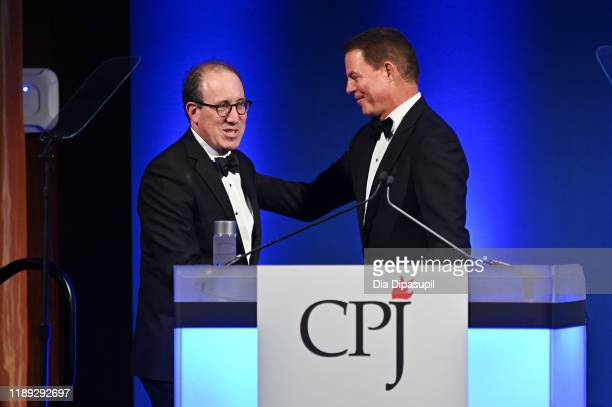CPJ executive director Joel Simon and Shepard Smith onstage at the Committee to Protect Journalists' 29th Annual International Press Freedom Awards...