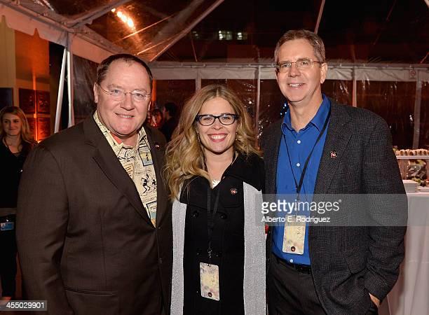 Executive director John Lasseter director Jennifer Lee and Director Chris Buck attend the 90 Years of Disney Animation celebration at Walt Disney...