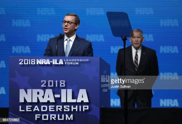 Executive Director NRAILA Chris Cox speaks at the NRAILA Leadership Forum during the NRA Annual Meeting Exhibits at the Kay Bailey Hutchison...