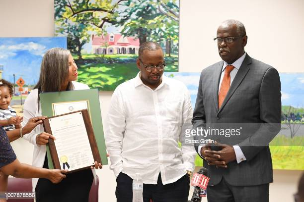 Executive Director of Bobbi Kristina Serenity House Dori Williams Bobby Brown and City of South Fulton Mayor ÒBillÓ Edwards onstage during...