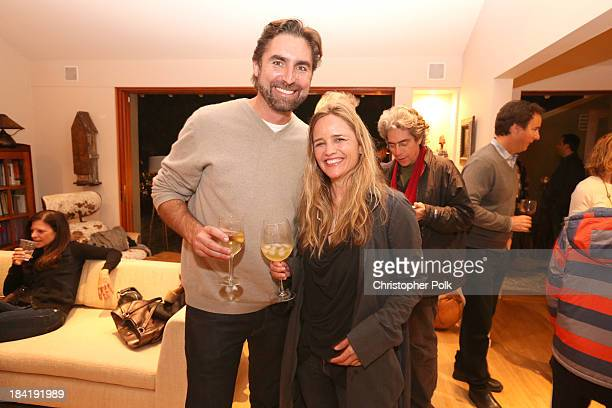 Executive director of Creative Visions Trevor Hall and social impact investor Clare Munn attend the screening for The Square at the home of Maria...