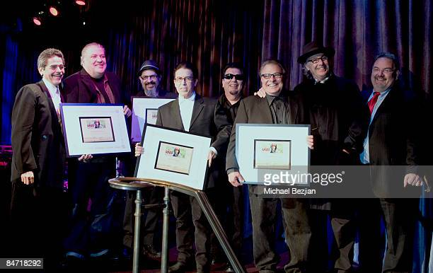 Executive Director of CRLA Jose Padilla and recording artists Los Lobos and Ry Cooder at the CRLA Tequio Fundraiser Gala at the Beverly Hilton Hotel...