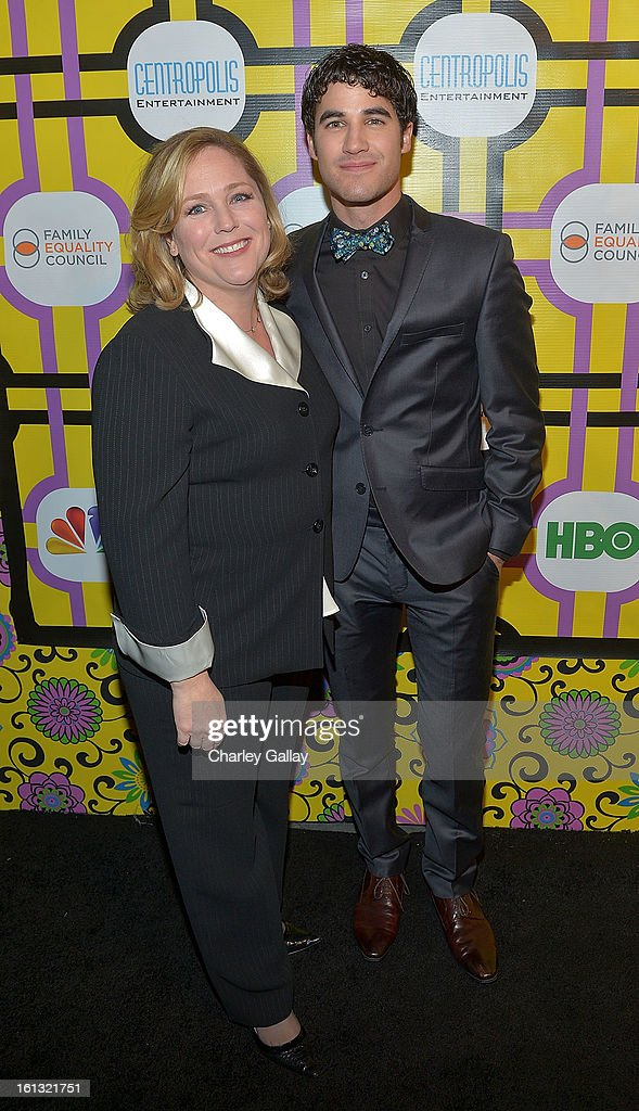 Executive Director of Family Equality Council Jennifer Chrisler (L) and actor Darren Criss attend the Family Equality Council LA Awards Dinner at The Globe Theatre at Universal Studios on February 9, 2013 in Universal City, California.