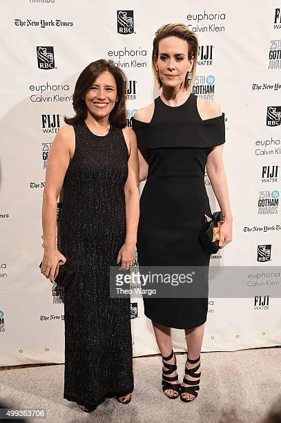 Executive Director of IFP Joana Vicente and actress Sarah Paulson attend the 25th Annual Gotham Independent Film Awards at Cipriani Wall Street on...