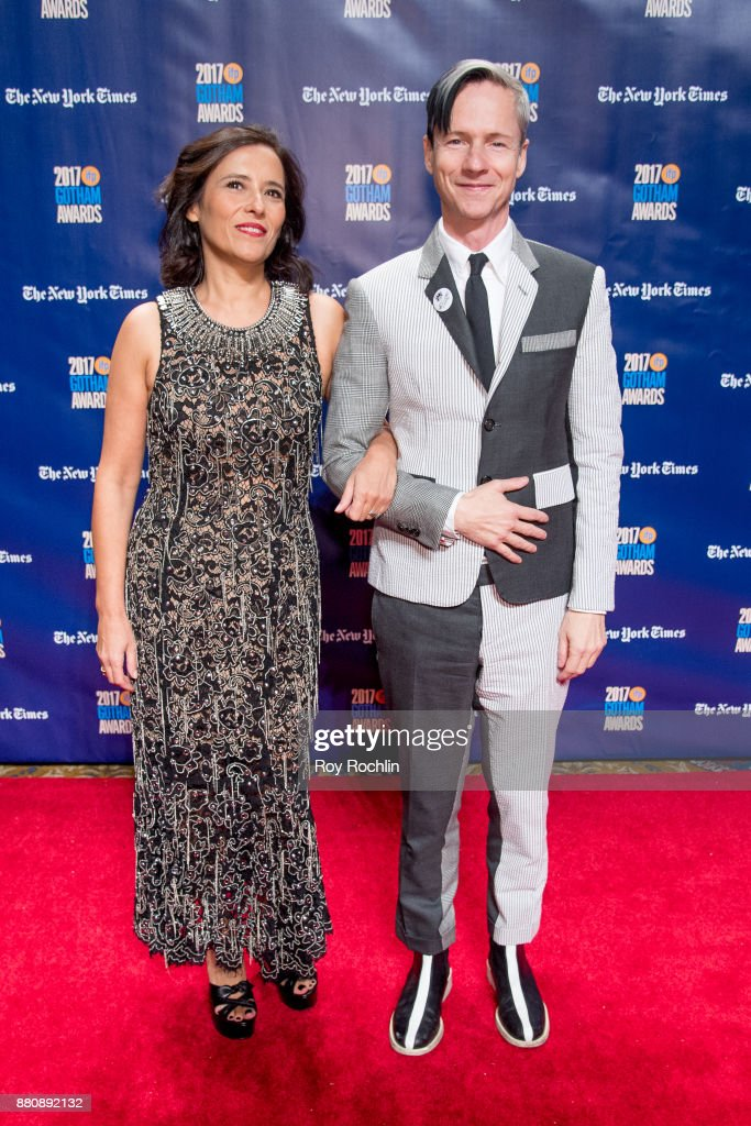 Executive Director of IFP Joana Vincente with Host John Cameron Mitchell attend the 2017 IFP Gotham Awards at Cipriani Wall Street on November 27, 2017 in New York City.