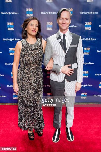 Executive Director of IFP Joana Vincente with Host John Cameron Mitchell attend the 2017 IFP Gotham Awards at Cipriani Wall Street on November 27...