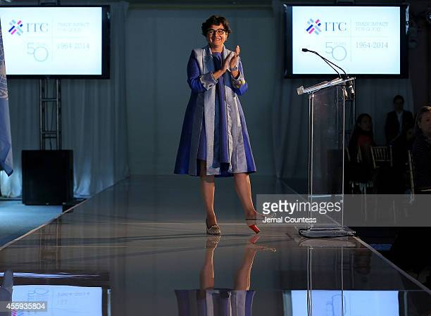 Executive Director of ITC Arancha Gonzalez speaks onstage during Women Empowering Women Luncheon And Fashion Show At The UN For LDNY Festival Launch...