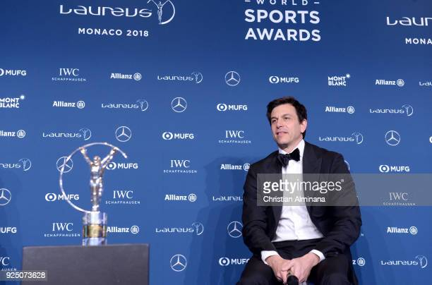 Executive Director of Mercedes AMG Petronas Formula One Team Toto Wolff is seen collecting the Team award at Salle des Etoiles Sporting MonteCarlo on...