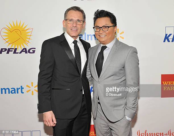 Executive director of PFLAG National, Jody M. Huckaby and actor Alec Mapa attend PFLAG National's eighth annual Straight for Equality awards gala at...