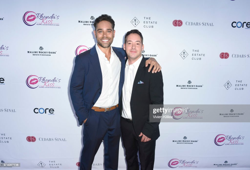 Executive director of Rhonda's Kiss Kyle Stefanski and Josh Barsell attend Rhonda's Kiss 'Kiss The Stars' Cancer Fundraising Dinner at The Estate Club's Sky Castle Estate on June 13, 2018 in Los Angeles, California.