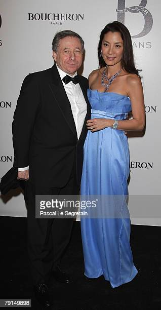 Executive director of Scuderia Ferrari Jean Todt and Actress Michelle Yeoh attend the 150th Anniversary dinner of Boucheron January 21 2008 in Paris...