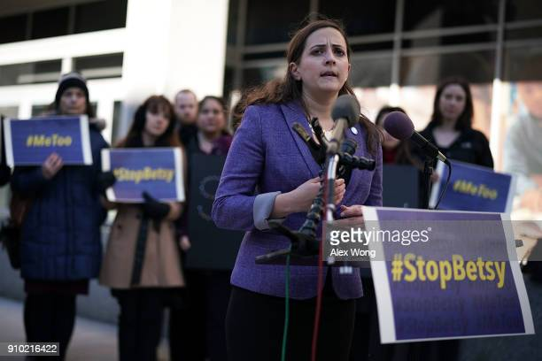 Executive Director of SurvJustice Laura Dunn speaks during a news conference on a Title IX lawsuit outside the Department of Education January 25...